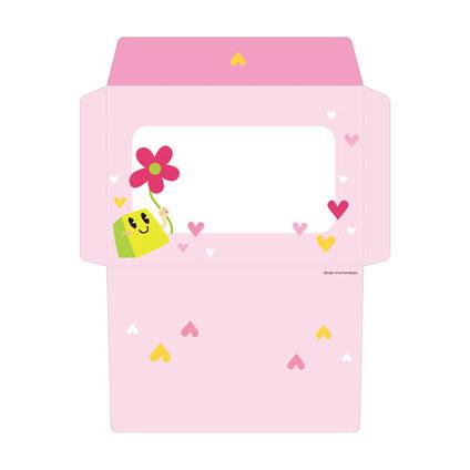 レター封筒|ピンクの花とハート